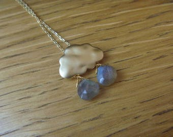 Rain Cloud gold Necklace with labradorite