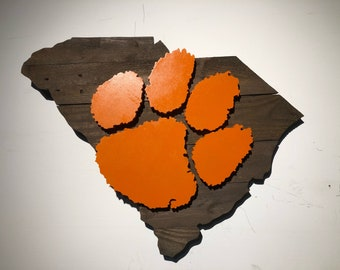 Clemson Tigers Wooden Rustic Wall Art