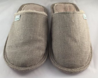 Linen slippers, men slippers, gray slippers, merino wool slippers, warm slippers, closed toe slippers, home slippers, men's house shoes