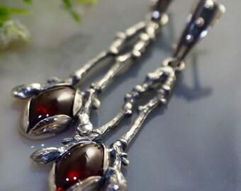 Garnet Earrings Almandine Garnet Sterling Silver Jewelry Izovella