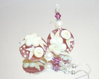 Pink Earrings, Lampwork Earrings, Glass Bead Earrings, Pearl Earrings, Glass Earrings, Cameo Rose Earrings, Floral Earrings, Flower Earrings