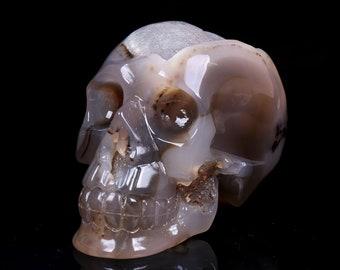 4.09 Inch Natural  Grey Agate Geode Quartz Crystal Cluster Carved Skull ,Healing Skull S049