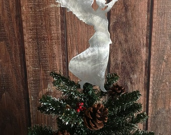 Angel Handcrafted Metal Christmas Tree Topper, Holiday Decoration, Wreath Decor, Aluminum, Metal, Rustic, Silver, Hark the Herald Angels