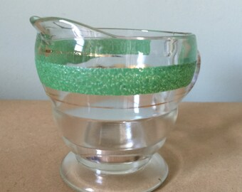 1940s Glass Creamer with Green and Gold Decor Vintage Kitchenalia