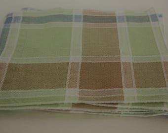 Everyday Cloth Cocktail/Hors d'oeuvre Napkins (set of 8) in Checkered Pastels,  Table Napkins