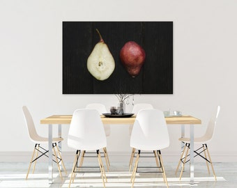 red pear v. two // food photography print // kitchen decor // dining room // canvas art // canvas print // rustic farmhouse wall art