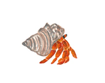 Nursery beach art, watercolor hermit crab, tropical nursery, crab print, ocean nursery wall art, ocean animal art, wildlife print, 8X10
