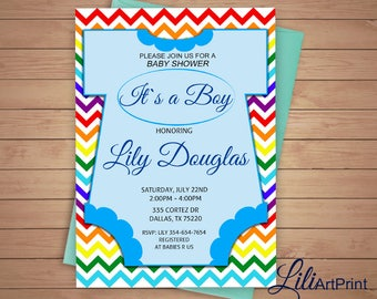 Baby Shower Invitation, Rainbow Baby Shower, Boy Baby Shower Invite, Rainbow Invitation, Digital file 15