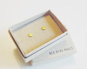Mini Geo Brass Tiny Circle Stud Earrings