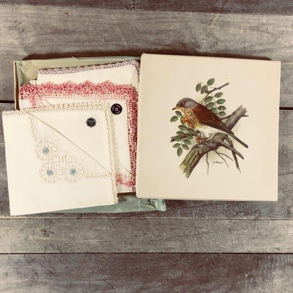 Vintage Bird Art Gift Box with 4 Linen Handkerchiefs