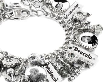 Movie Monsters Bracelet, Wolfman, Dracula, Frankenstein, Mummy, Jekyll and Hyde, Halloween Charm Bracelet