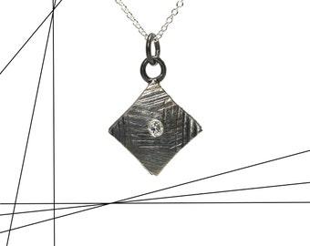 Geometric Diamond Necklace Black Silver Modern Texture Delicate Sideways Square Elegant Minimalistic Monochrome Design - Diamante Diamante