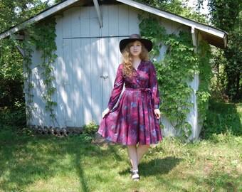 SALE! 1970s vintage jewel tone and indigo floral shirt dress