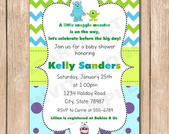 Monsters inc baby shower invitations etsy mini monsters inc baby shower invitation boy or girl neutral 100 each filmwisefo Image collections
