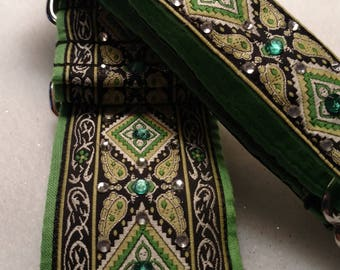 """GREEN WITH ENVY  1"""" Tag & 1 1/2"""" Martingale Collar #177"""