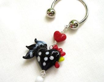 Black & White Polka Dot Rooster key-chain - lampwork glass chicken on horseshoe key ring -Free Shipping USA