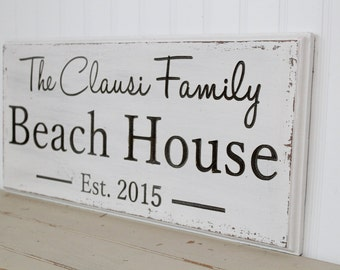 Beach House Sign - Beach Decor  - Beach Sign - Nautical Decor - Custom Sign - Wood Sign - Coastal Decor