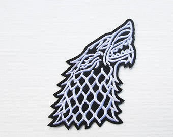 Dire Wolf Iron On Patch, Embroidered patch, GOT patch, Thrones patch, Military Patch, Wolf Patch, Fan Patch, Game Thrones wolf, Dire Wolf
