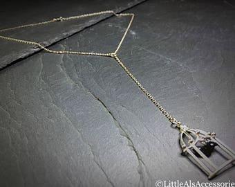 Silver Lariat Style Necklace, Bird Necklace, Sterling Silver, Dainty Necklace, Black Bird Necklace, Silver Y Necklace, Minimalist Jewelry