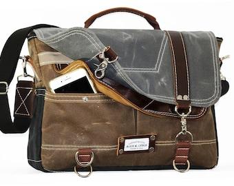 Waxed Canvas Messenger bag - laptop bag handmade by Alex M Lynch - 010069