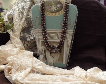 Two strand brownish purple fresh water pearl necklace