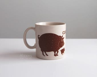Taylor and Ng Cochon Pig Brown Ceramic Japan Mug