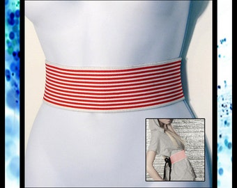 RED/WHITE Striped Elastic Wrap Belt - Custom Sized