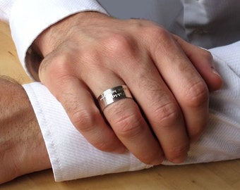 Mens Ring Wide Pinky Ring Personalized Band Sterling Silver