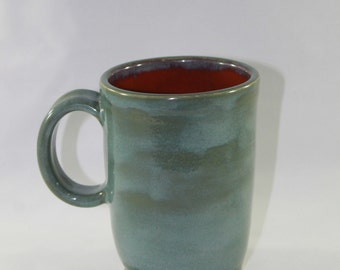 Tall Green and Orange Mug