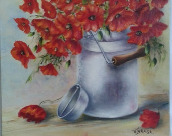 Bottle with poppies: Paint wall oil painting, figurative, original, unique, quiet life, art flowers, red, MOM, certified art gift