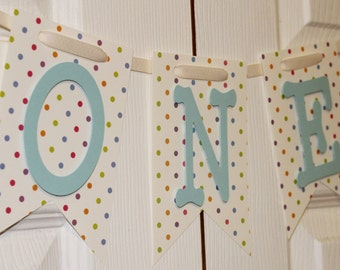 Polka Dot High Chair Banner, Happy Birthday Banner, I Am One Banner, I Am Two Banner