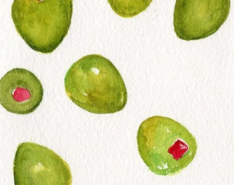 Green Olives watercolors paintings original,  4 x 6, olive art, kitchen, dining, food art, SharonFosterArt Farmhouse Decor