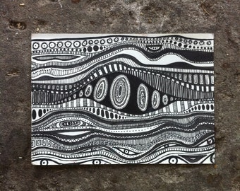 Funky Psychedelic Doodle Zentangle Pattern A6 Postcard Illustration