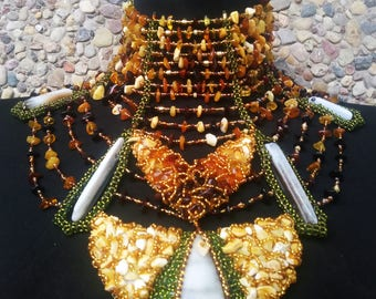 Amber queen necklace / Couture necklace/ statement necklace/ fancy necklace/ extra large collar/ Viking Baltic beaded necklace