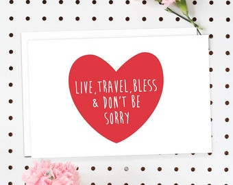 4-Pack of Flat Notecards - Stationery With Envelopes - Live, Travel, Bless And Don't Be Sorry