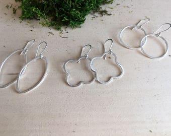 Silver dangle earrings, quatrefoil dangle earrings, oval dangle earrings, circle dangle earrings, boho jewelry