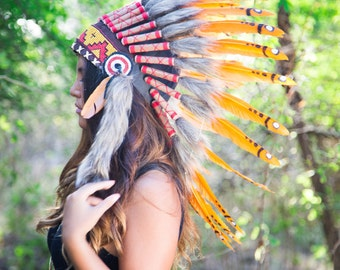 El Original - réplica de naranja jefe indio tocado de pluma Real 65cm, nativa americana traje mano hecho guerra Bonnet sombrero