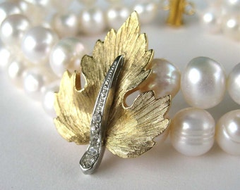 Gold Leaf Pearl Bracelet, 2 Strand Pearl Wedding Bracelet, Mixed Metals, Rhinestone, Northwoods