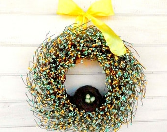 Spring Wreaths-Easter Wreath-Spring Door Wreath-Spring Home Decor-TEAL & YELLOW Wreath-Gift for Mom-Spring Wall Hanging-Scented Wreath