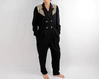 80s Vintage Overalls Black Jumpsuit High Waist Gold Pantsuit Womens Romper Pantdress Sweet 80s Party Boho Loungewear Disco Party Large Size
