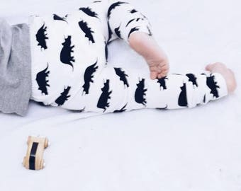 Terry the Triceratops White Baby & Toddler Leggings – Made to Order 0 Months - 4 Years
