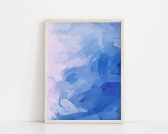 Printable Art, Abstract Blue Painting, Royal Blue Prints, Bright Blue Art Print, Abstract Painting, Royal Blue Art, Light Blue Abstract Art