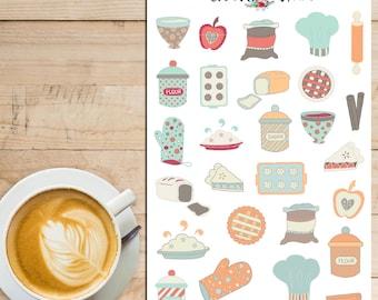 Let's Bake! | Baking Planner Stickers | Baking Stickers | Cooking Stickers | Cakes Bread Cookies Pies Stickers | Kitchen Stickers (S-125)
