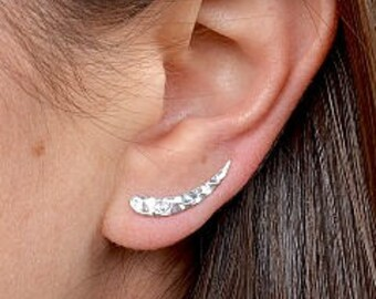 Hammered Silver Ear Climbers. 925 Silver. Item 292.
