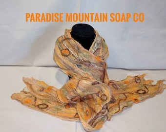 Nuno Felted Cobweb Scarf - Handmade - Merino Wool & Silk - Yellow Brown Orange