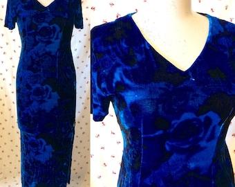 WINTER SALE Electric blue velvet 90s festival floral maxi dress size 8 - 10