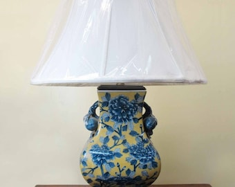 A Chinese Yellow Porcelain Vase Blue Flower Based Lamp & Lampshade w/ Peach Ears
