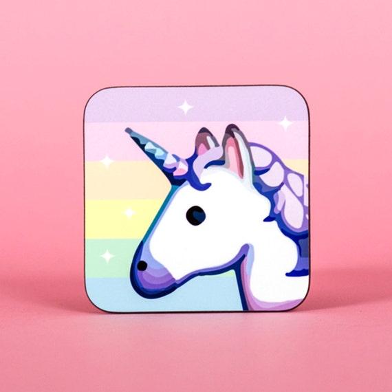 Unicorn emoji rainbow sparkle coaster - Cute coaster 2S016