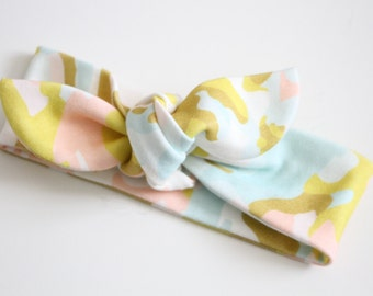 Pink Camo Knot Toddler/Kid, Girls Bow, Organic, Bow, Headband