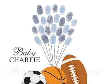 All Star Sports Baby Shower Guest Book Alternative Baby Shower Guestbook All Star Thumbprint Guestbook Sport Fingerprint Guestbook